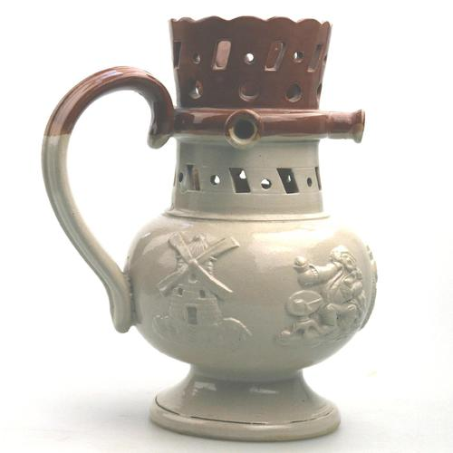 An Attractive Stoneware Pottery Staffordshire / Denby Puzzle Jug C.19thc (1 of 14)