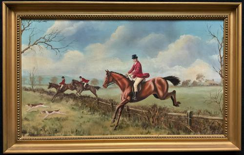 'The Fox Hunt' Original Vintage Country Sporting Pursuit Oil on Canvas Painting (1 of 17)