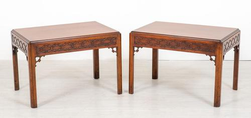 Interesting Pair of Mahogany End Tables (1 of 7)