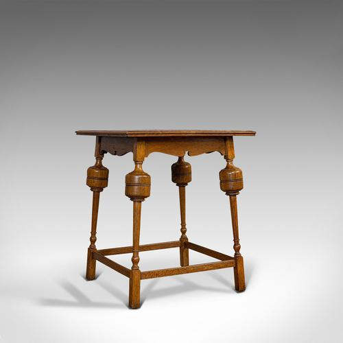 Antique Occasional Table, English, Oak, Side, Wine, Arts & Crafts, Edwardian (1 of 10)