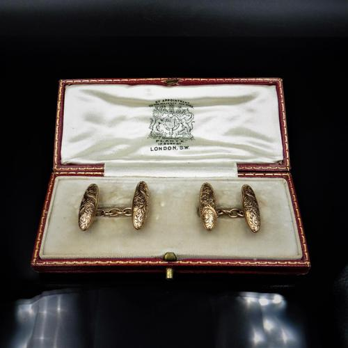 Antique Boxed Edwardian 9ct Gold Engraved Fancy Cufflinks (1 of 7)