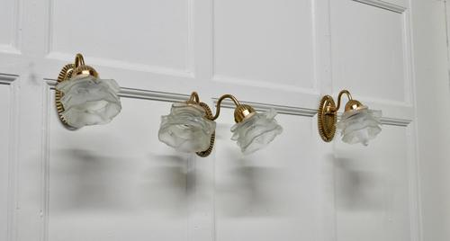 Brass Wall Light Set with Flower Shades, 1 Double and 2 Single Lights (1 of 14)