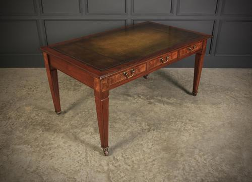 Large Figured Walnut Writing Table Desk 5ft x 3ft (1 of 15)