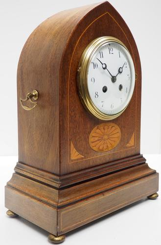 Fantastic French Inlaid Lancet Mantel Clock Multi Wood inlay 8 Day Striking Mantle Clock (1 of 10)