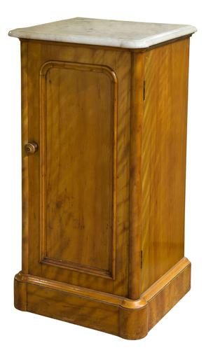 19th Century Satin Birch Bedside Cabinet with Marble Top (1 of 8)