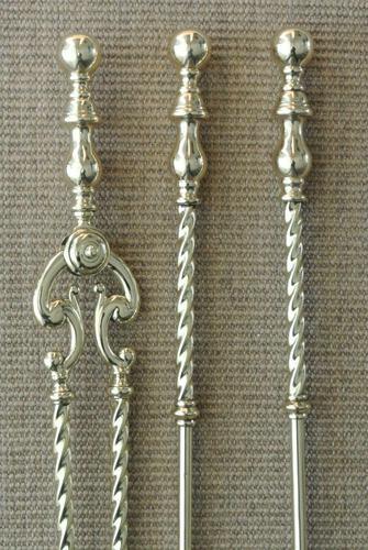 Quality Victorian Brass Fire Irons Companion Set Tongs Poker Shovel c.1895 (1 of 9)