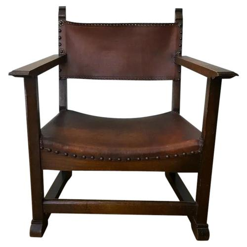 Fine Vintage Early 20th Century Original Adolf Loos Vienna Fireside Leather Armchair Secessionist Oak (1 of 46)