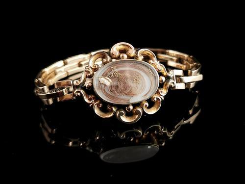 Antique Mourning Bracelet, 9ct Gold, Hairwork, Conversion (1 of 11)