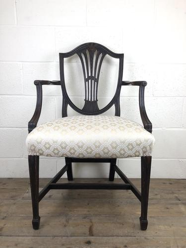 Antique 19th Century Open Arm Carver Armchair with Fabric Seat (M-1196) (1 of 11)