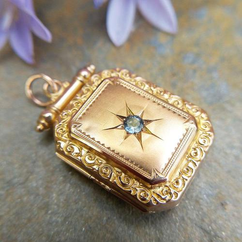 Antique Victorian 9ct Gold & Aquamarine Rectangular Locket Pendant (1 of 9)