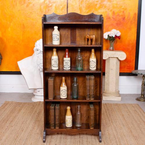 Carved Oak Open Bookcase Bookshelves (1 of 8)