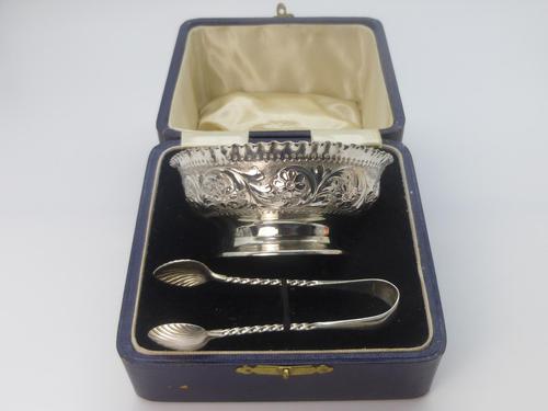 Victorian Silver Sugar Bowl & Tongs (1 of 8)