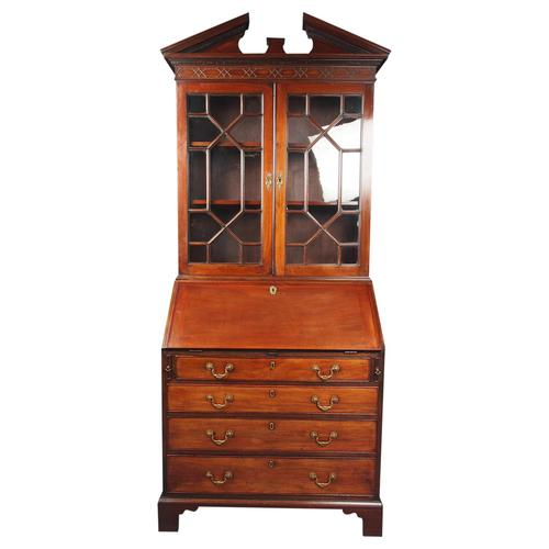Antique George III Mahogany Bureau Bookcase (1 of 12)