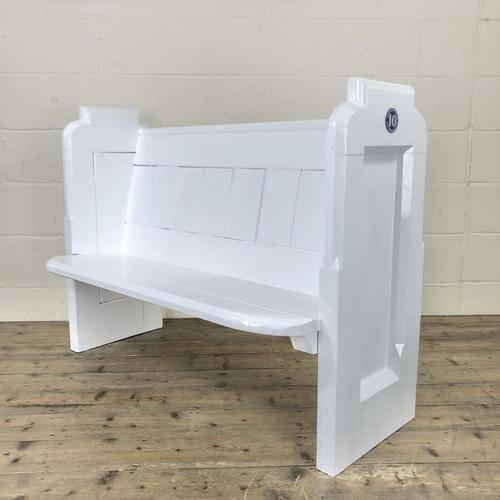 Antique White Painted Pew Bench (1 of 8)