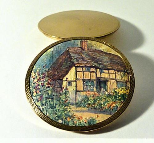 Rare Stratton Cottage Garden Powder Compact 1948 (1 of 6)