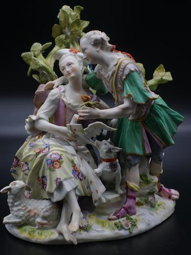 Well Modelled Late 19th Century Meissen Group of Two Lovers (1 of 5)