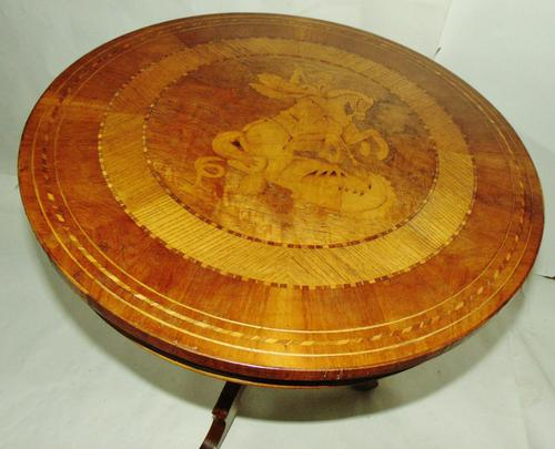 Italian Sorrento Walnut Inlaid Tripod Table (1 of 8)