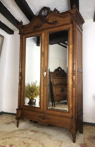 Antique French Carved Armoire Housekeepers 2 Door Mirrored Wardrobe (1 of 8)