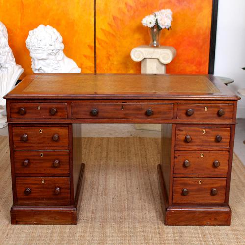 Mahogany Leather Desk 19th Century Victorian Kneehole Twin Pedestal (1 of 14)