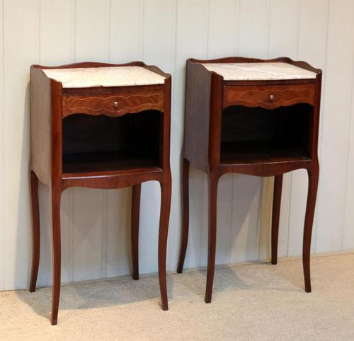 Pair of French Mahogany Inlaid Bedside Cabinets (1 of 10)