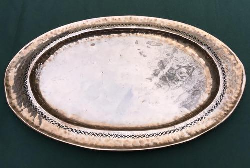 Arts & Crafts Oval Planished Copper Tray (1 of 4)