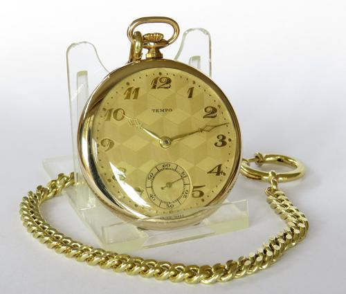 1930s Tempo Pocket Watch & Chain (1 of 4)