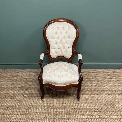 Stunning Mahogany Upholstered Antique Armchair (1 of 7)