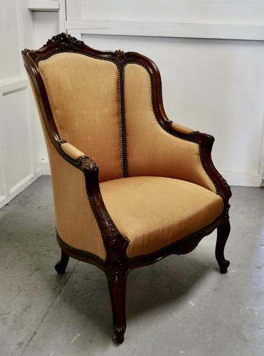 French Carved Walnut & Salon Chair, Upholstered in Silk (1 of 10)
