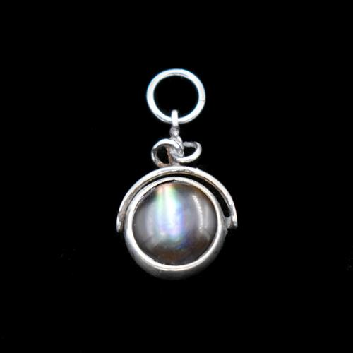Antique Edwardian Abalone Shell and Agate Sterling Silver Spinning Fob Pendant (1 of 9)