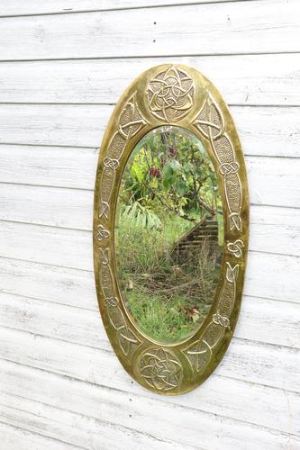 Arts & Crafts Movement Scottish / Glasgow School Large Oval Wall Mirror c.1900 (1 of 28)