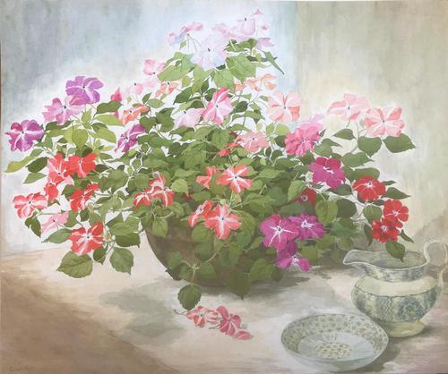 Original watercolour 'Flowers and china' by Colleen Farr. B. 1930. Signed c.1970 (1 of 1)