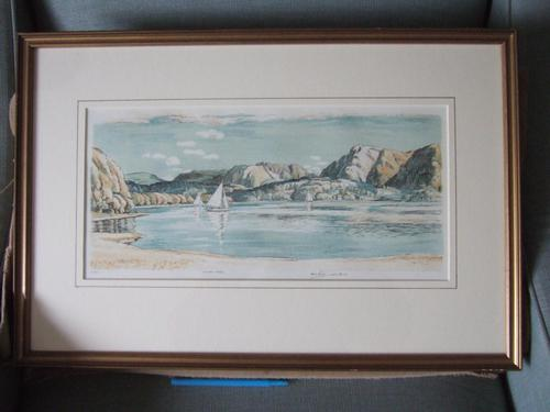 Leslie Moffat Ward RE (1888-1978):  rare l/e lithograph of Coniston Water, Lake District (1 of 5)