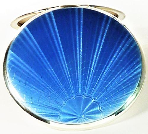 Beautiful Blue Guilloche Enamel Compact Mirror (1 of 9)