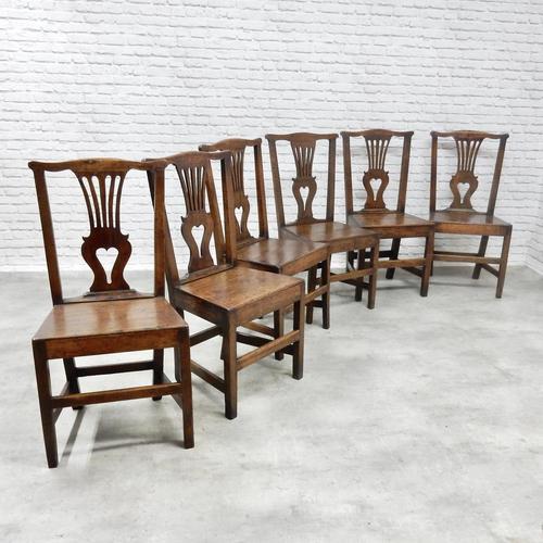 Set of 6 Georgian Welsh Oak Dining Chairs (1 of 8)