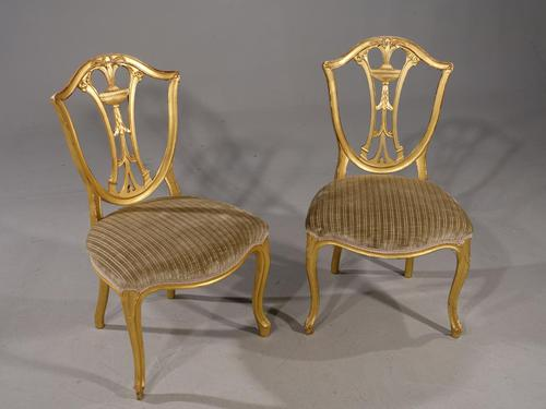 Rare Pair of Late 18th Century French Hepplewhite Gilded Side Chairs (1 of 5)
