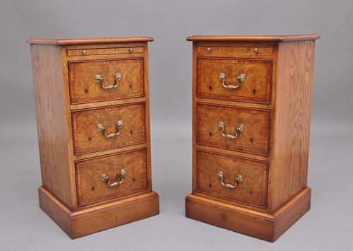 Pair of Mid 20th Century Burr Oak Bedside Chests (1 of 11)