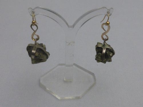 9ct gold and iron pyrite earrings (1 of 5)