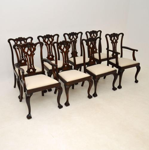 Set of 8 Antique Mahogany Chippendale Dining Chairs (1 of 14)