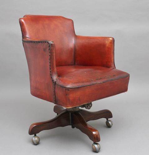 Mid 20th Century Leather Swivel Desk Chair (1 of 10)