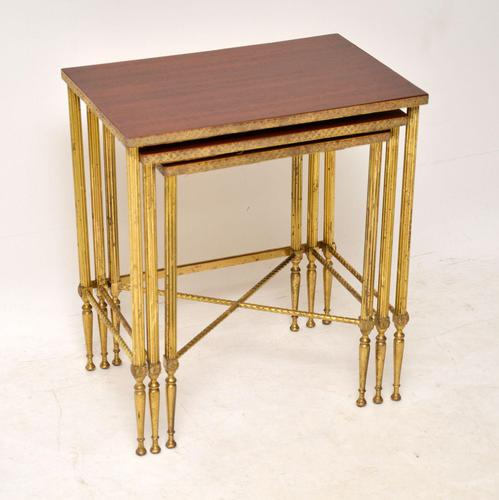 1950's Vintage Brass & Mahogany Nest of Tables (1 of 10)