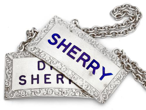Pair of Rectangular Silver Sherry Decanter Labels with Blue Enamel Lettering (1 of 5)