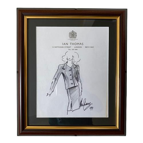 Original Fashion Drawing by Ian Thomas - Dressmaker for the Royal Family (1 of 4)