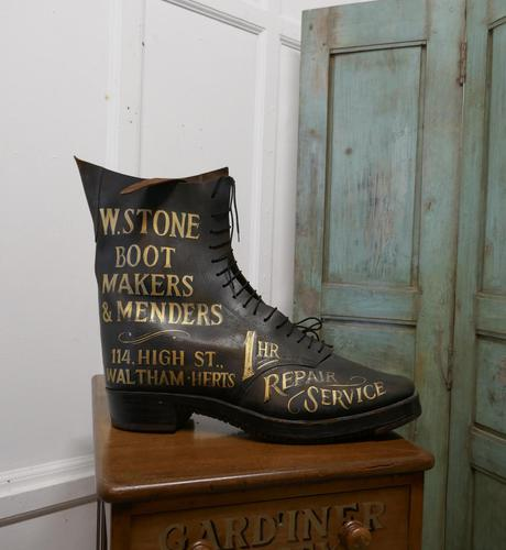 Edwardian Shoe Shop or Cobblers Trade Sign, Leather Boot Display Model (1 of 11)