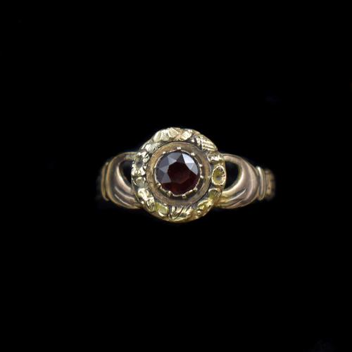 Antique Fede Claddagh Double Hand Garnet Gold Ring (1 of 8)