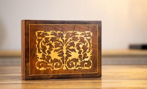 Olive Wood Inlaid Card Box 1920 (1 of 8)