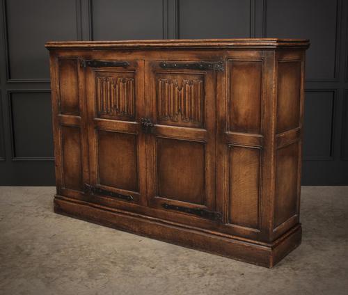 Solid Oak Linenfold Cabinet (1 of 9)