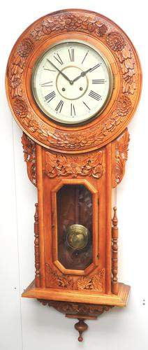 Massive Rare Antique Carved Walnut 8-Day Drop Dial Striking Wall Clock (1 of 14)