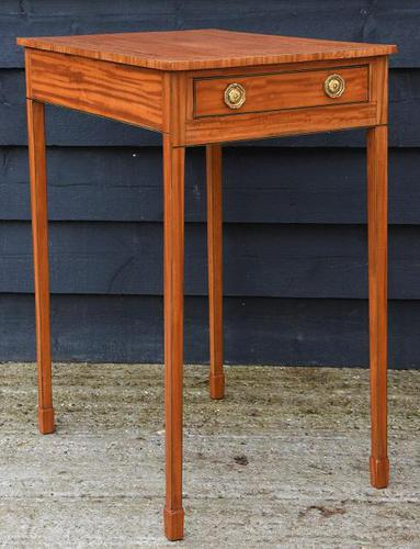Superb Quality Georgian Satinwood & Inlaid Lamp / Wine / Side Table with Drawer (1 of 10)