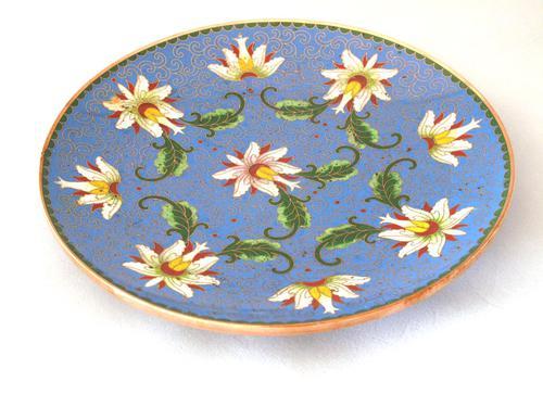 Fine Japanese Blue Cloisonné Orchid Plate (1 of 4)