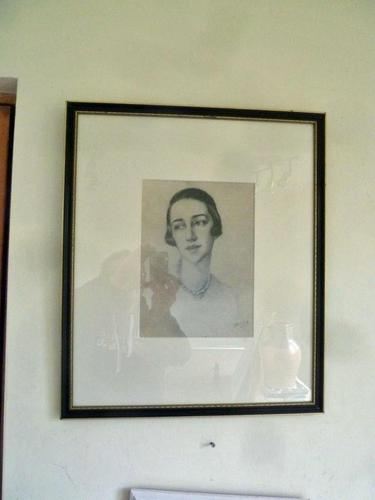 Olive Snell Mod Brit, Lithograph of Society Woman Portrait 1920's 2 of 4 Listed (1 of 4)